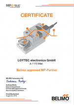 Certificate LOYTEC Belimo approved MP Bus Partner